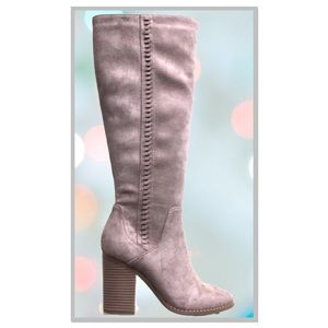 Restock! Soda Taupe Suede Knee High Heeled Boot
